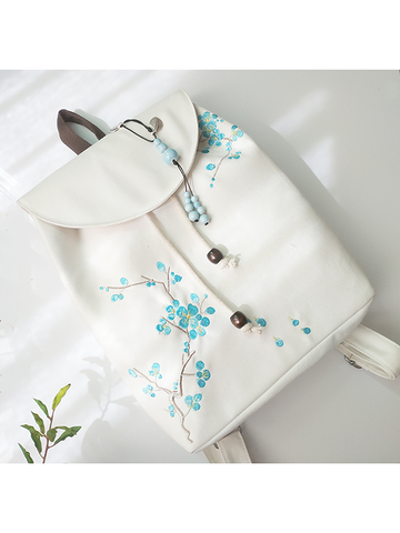Modakawa Bag Green+White Vintage Plant Embroidery Backpack