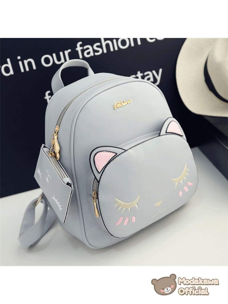 Modakawa Bag Grey Cat Embroidery Backpack