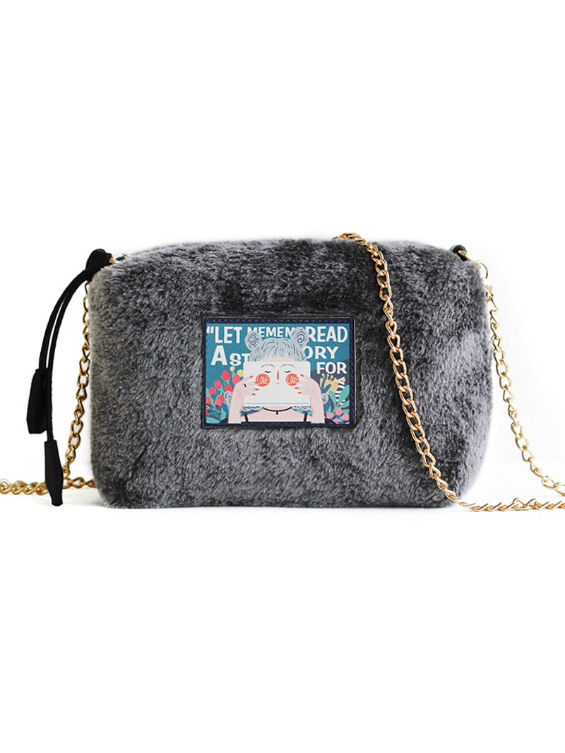 Modakawa Bag Grey Illustration Plush Crossbody Bag