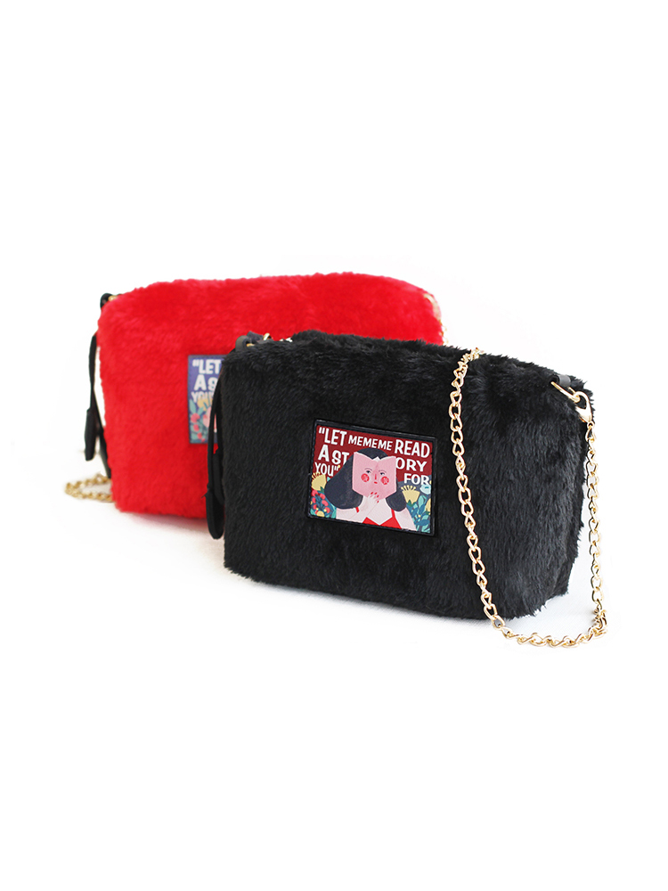Modakawa Bag Illustration Plush Crossbody Bag
