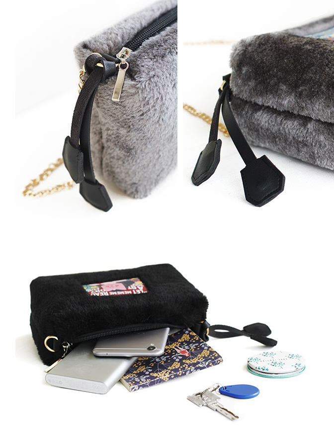Illustration Plush Crossbody Bag