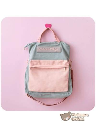 Modakawa Bag Pink & Green Harajuku Multi-Function Backpack