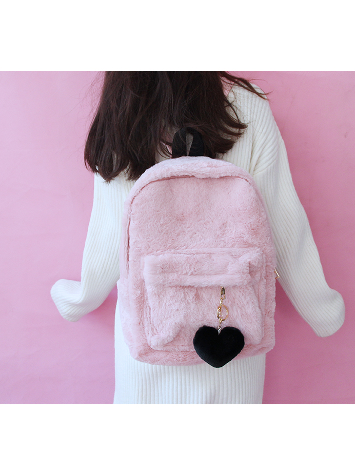 Modakawa Bag Pink Heart Pendant Furry School Bag