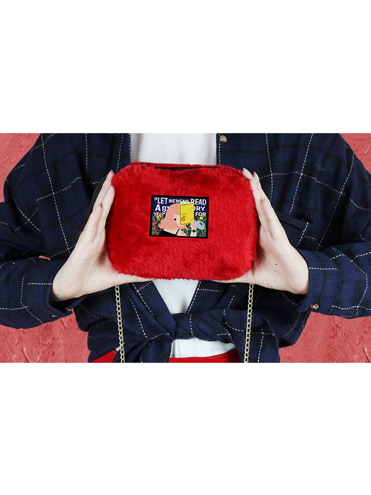 Modakawa Bag Red Illustration Plush Crossbody Bag