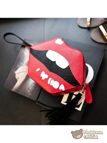 Modakawa Bag Red Lips Crossbody Bag