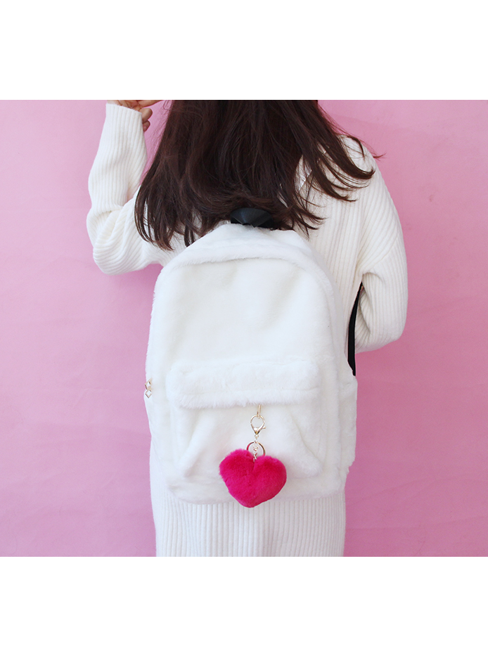 Modakawa Bag White Heart Pendant Furry School Bag