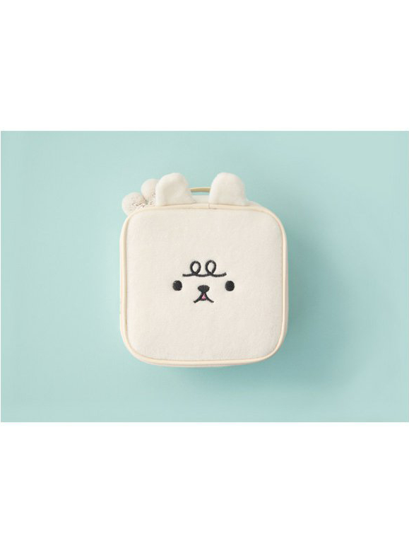 Modakawa Bag White Kawaii Embroidery Square Cosmetic Bag