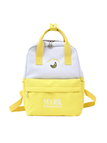 Modakawa Bag Yellow Cute Cartoon Embroidery Backpack