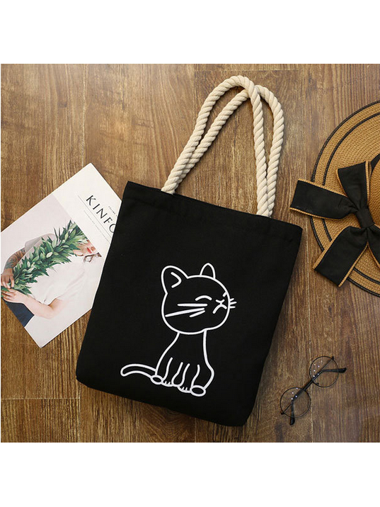 Modakawa Black 2 Kawaii Cartoon Cat Canvas Shopping Tote Bag