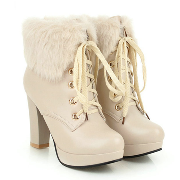 Modakawa Boots Apricot / 35 Fluffy Lace-up High Heel Martin Boots