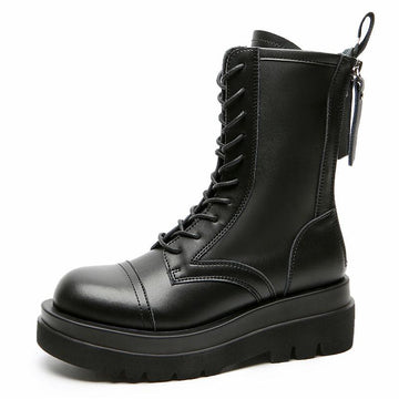 Modakawa Boots Black / 34 Genuine Leather Double Zipper Platform Martin Boots