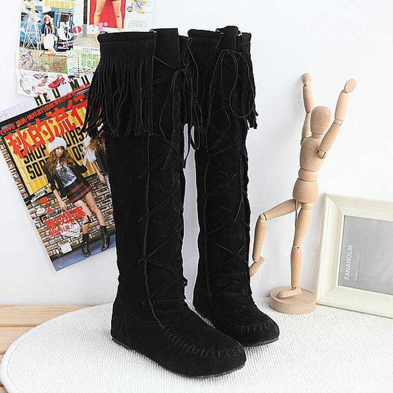 Modakawa Boots Black / 34 Tassels Lace-up High Boots