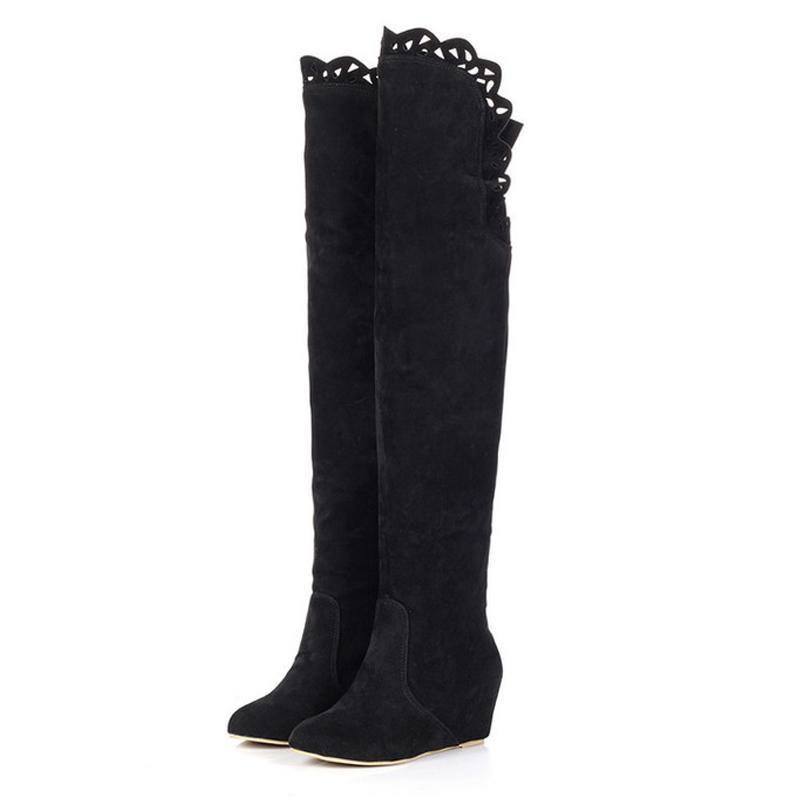 Modakawa Boots Black / 34 Wedge Heel Knee High Boots