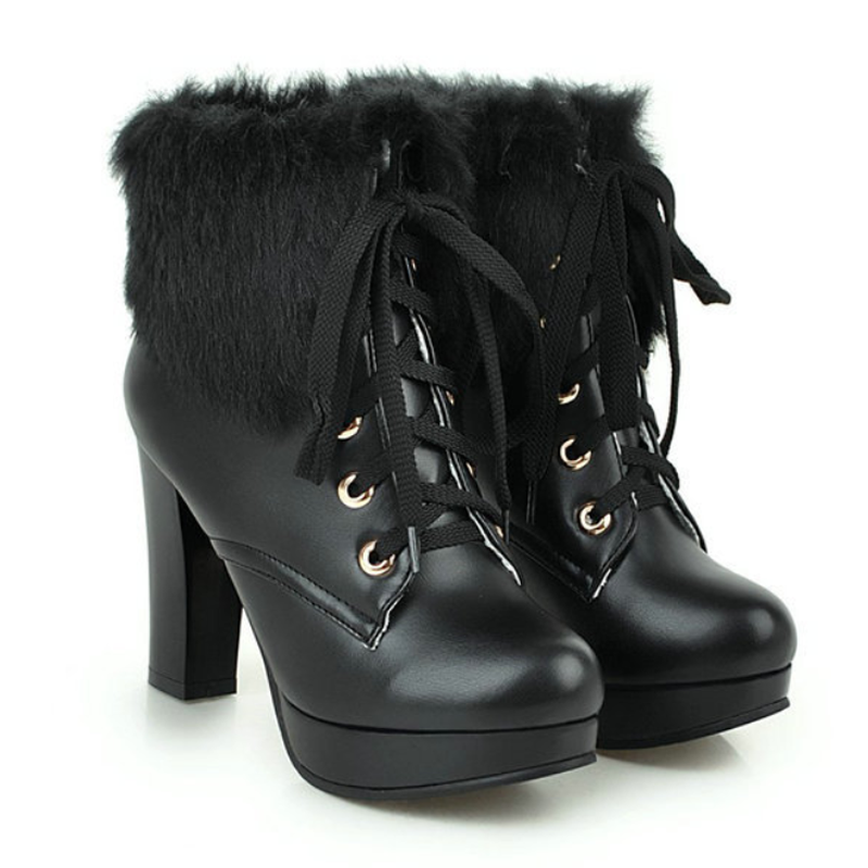 Modakawa Boots Black / 35 Fluffy Lace-up High Heel Martin Boots