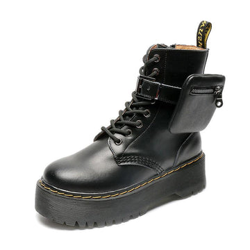Modakawa Boots Black / 35 Mini Bag Buckle Platform Martin Boots