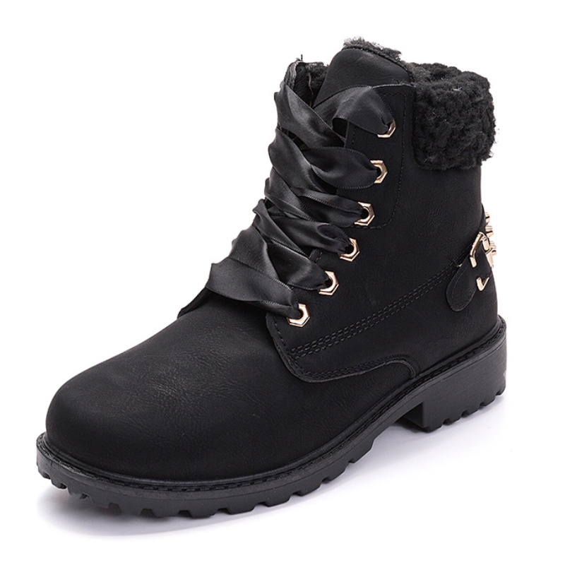 Modakawa Boots Black / 36 Lace-up Studded Martin Boots