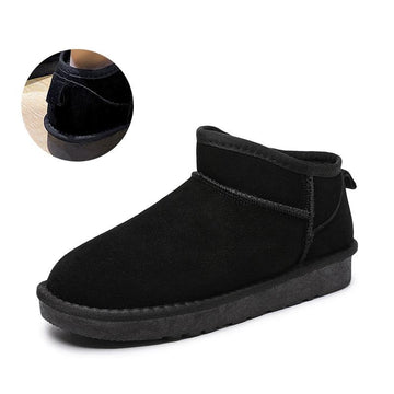 Modakawa Boots Black with Shoes Handle / 35 Slip-on Low Top Inner Fleece Snow Boots