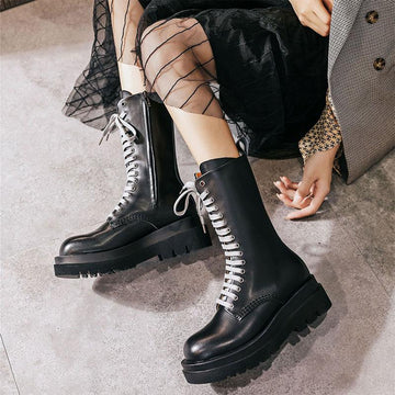 Modakawa Boots British Style Vintage Knee High Lace Up Martin Boots