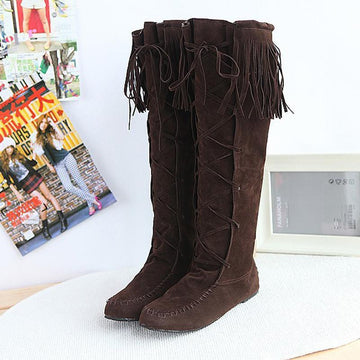 Modakawa Boots Brown / 34 Tassels Lace-up High Boots