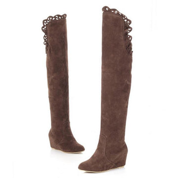 Modakawa Boots Brown / 34 Wedge Heel Knee High Boots