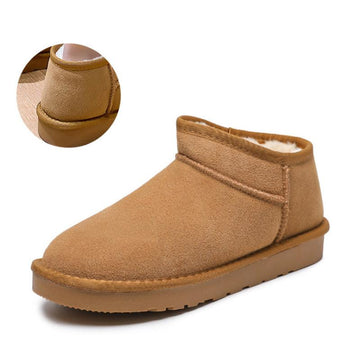 Modakawa Boots Brown / 35 Slip-on Low Top Inner Fleece Snow Boots