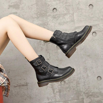 Modakawa Boots Buckle High Top Zipper Boots