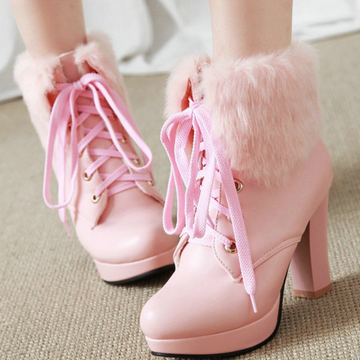 Modakawa Boots Fluffy Lace-up High Heel Martin Boots