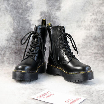 Modakawa Boots Genuine Leather Platform Lace Up Martin Boots