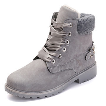 Modakawa Boots Gray / 36 Lace-up Studded Martin Boots