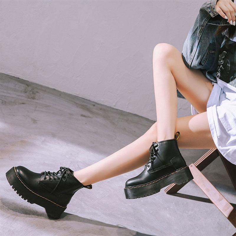 Modakawa Boots Leather Platform Lace Up Round Toe Martin Boots
