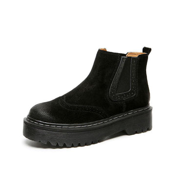 Modakawa Boots Normal / Black / 35 British Style Thick Bottom Flat Martin Short Boots