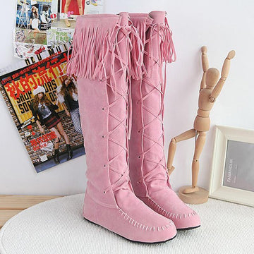 Modakawa Boots Pink / 34 Tassels Lace-up High Boots