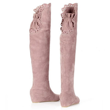 Modakawa Boots Pink / 34 Wedge Heel Knee High Boots