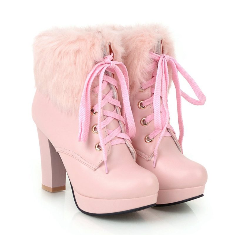 Modakawa Boots Pink / 35 Fluffy Lace-up High Heel Martin Boots