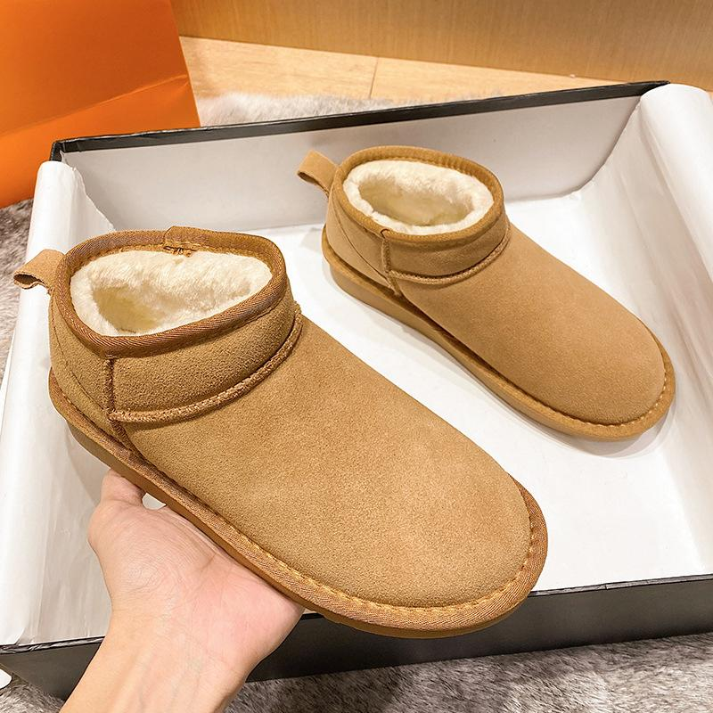 Modakawa Boots Slip-on Low Top Inner Fleece Snow Boots
