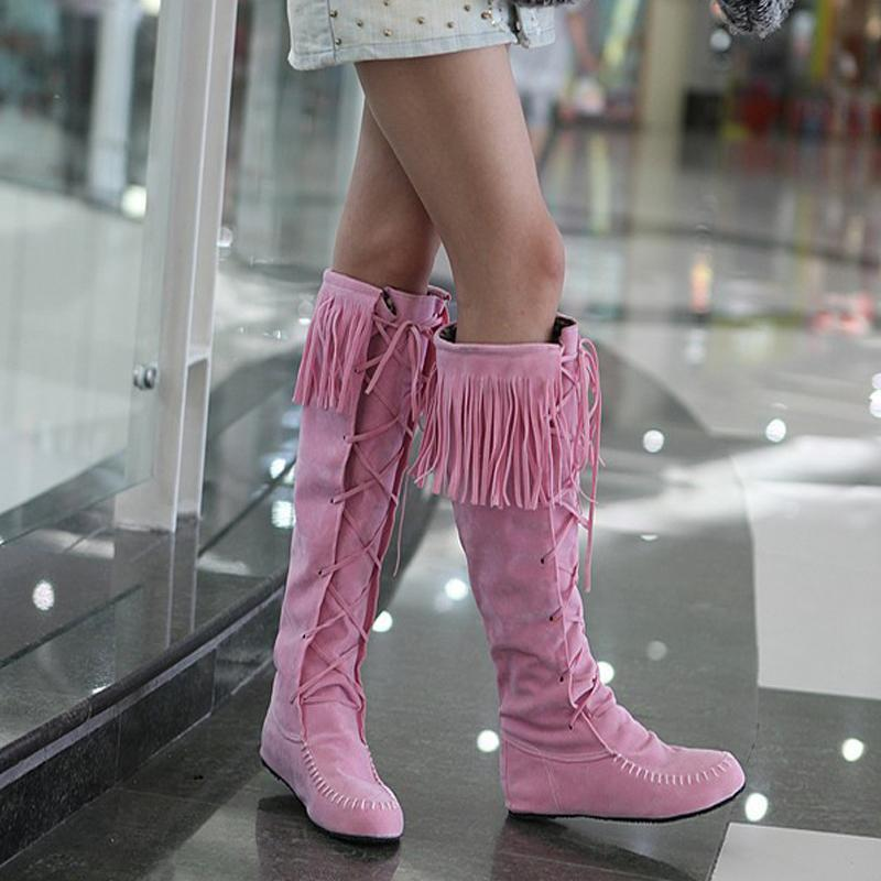 Modakawa Boots Tassels Lace-up High Boots