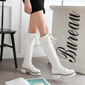 Modakawa Boots Vintage Knee High Martin Boots Lace-up