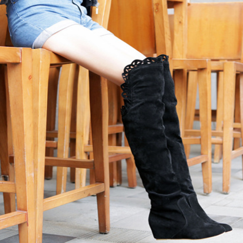 Modakawa Boots Wedge Heel Knee High Boots
