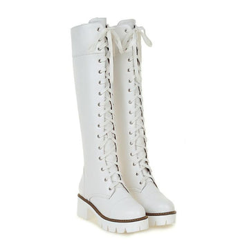 Modakawa Boots White / 34 Vintage Knee High Martin Boots Lace-up