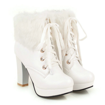 Modakawa Boots White / 35 Fluffy Lace-up High Heel Martin Boots