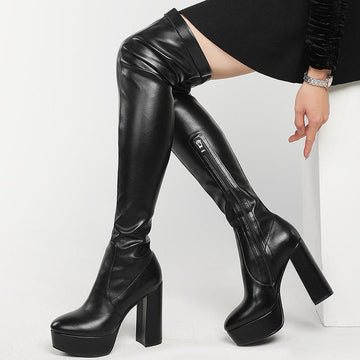 Modakawa Boots Zipper Knee High Heels Boots