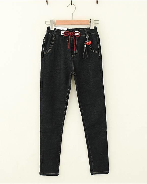 Modakawa Bottoms Bell Elasticized Waistband Plush Winter Jeans