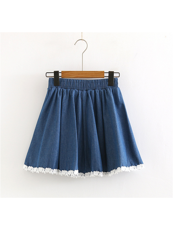 Modakawa Bottoms Dark Blue High Waist Lace Stitching Denim Skirt