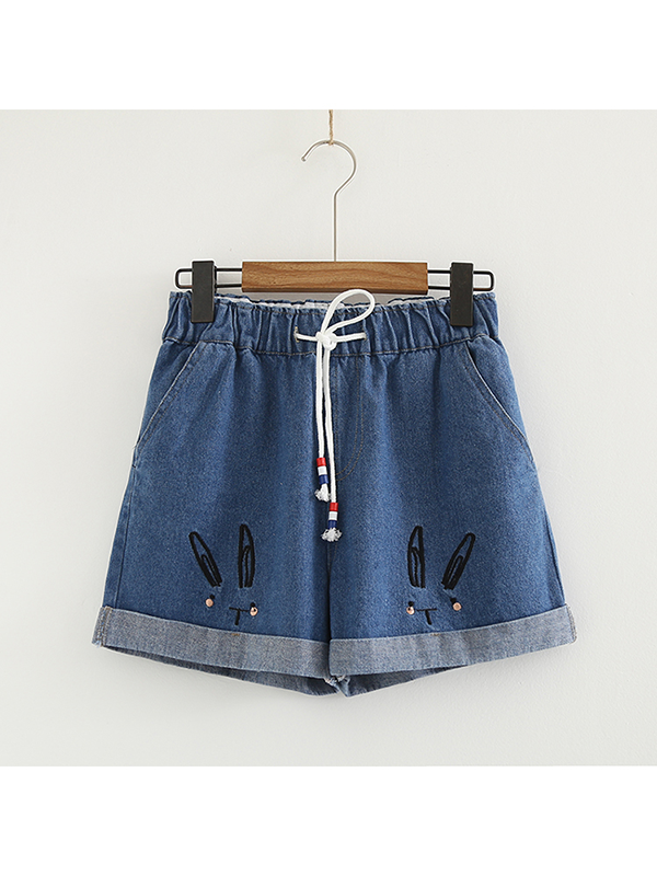 Modakawa Bottoms Dark Blue / S Casual Denim Shorts Straight Leg Embroidered Rabbit School Girl