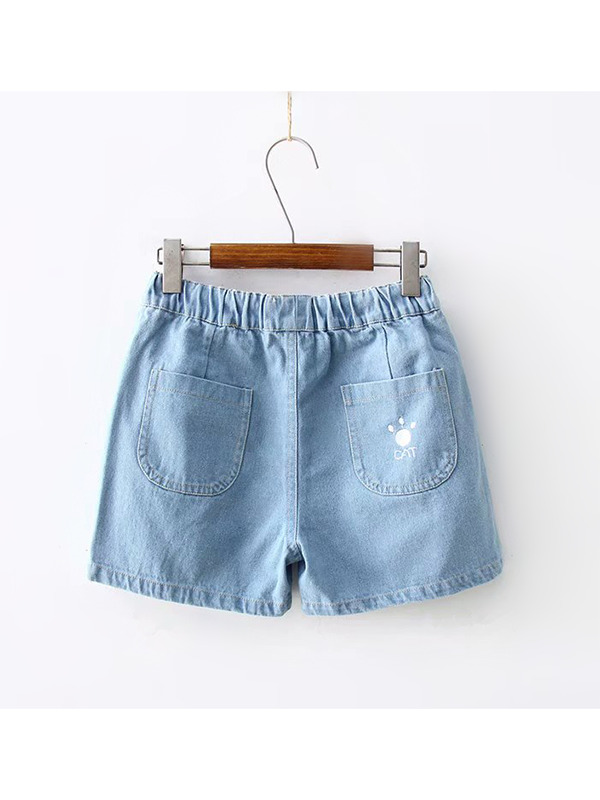 Modakawa Bottoms Dark Blue / S Cat Fish Embroidery Denim Cotton Shorts