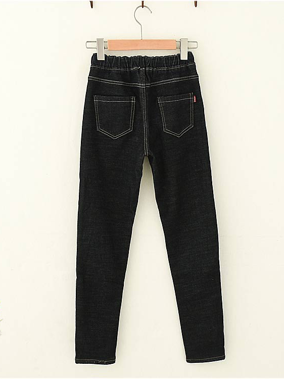 Modakawa Bottoms Elasticized Waistband Plush Winter Jeans
