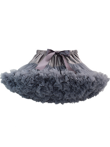 Modakawa Bottoms Gray Cute Mesh Tutu Tiered Skirt