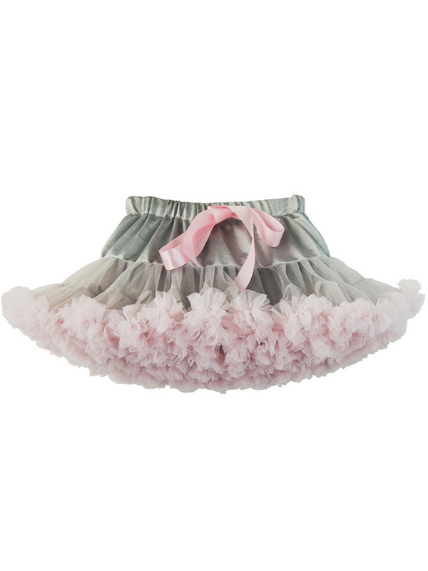 Modakawa Bottoms Gray+Pink Cute Mesh Tutu Tiered Skirt