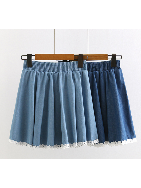 Modakawa Bottoms Light Blue High Waist Lace Stitching Denim Skirt