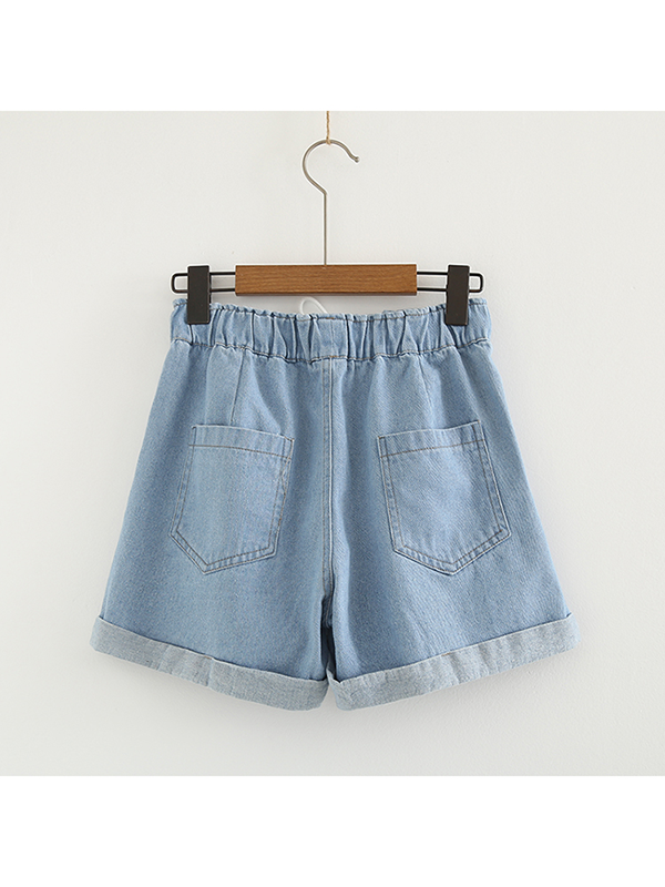 Modakawa Bottoms Light Blue / S Casual Denim Shorts Straight Leg Embroidered Rabbit School Girl